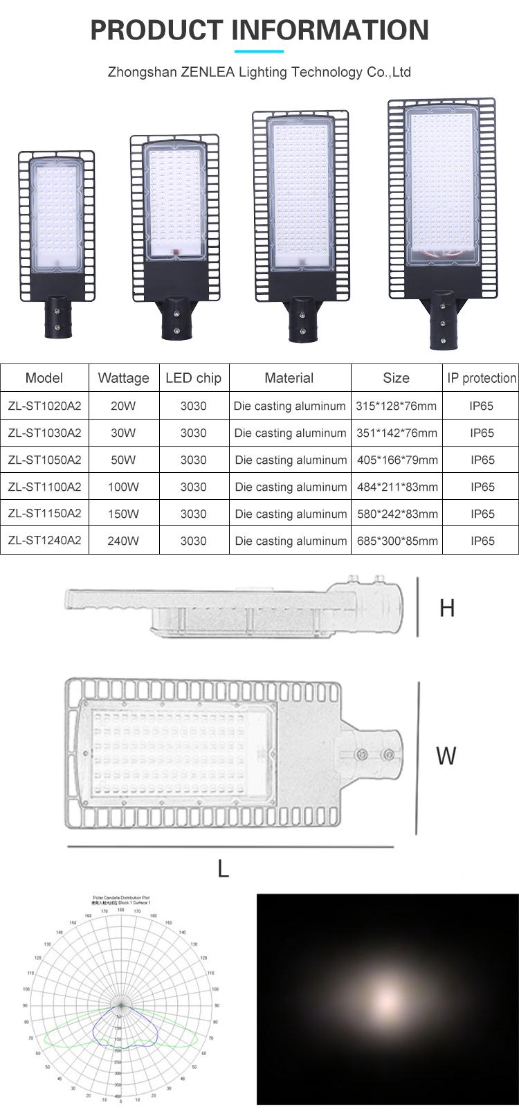 High lumens Outdoor Ip66 waterproof aluminum smd 20w 30w 50w 100w 150w 240w led street light