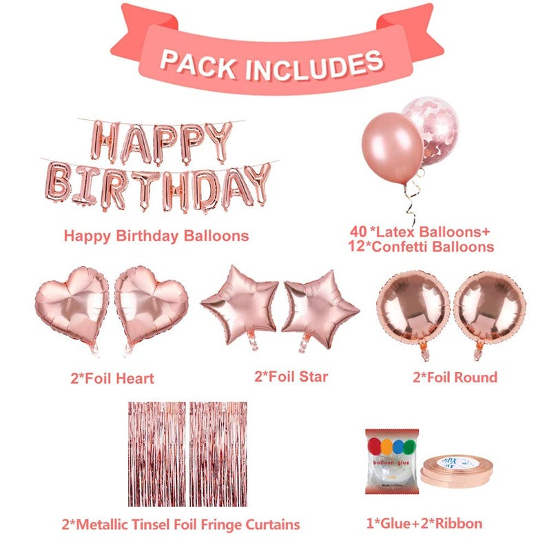 79PCS Happy Birthday Party Supplies Rose Gold Happy Birthday Foil Balloon Happy Birthday Party Decoration Kits
