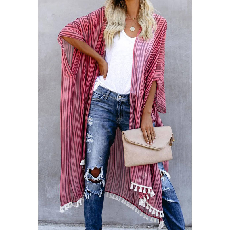 Wholesale Custom Summer Pink Loose Casual Striped Tassel Cardigan Kimono