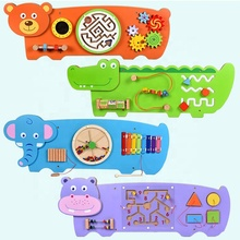 Educatieve Percussie-instrument Puzzel Montessori Materialen Animal Wall Panel Houten Muur <span class=keywords><strong>Game</strong></span> Drukke <span class=keywords><strong>Board</strong></span>