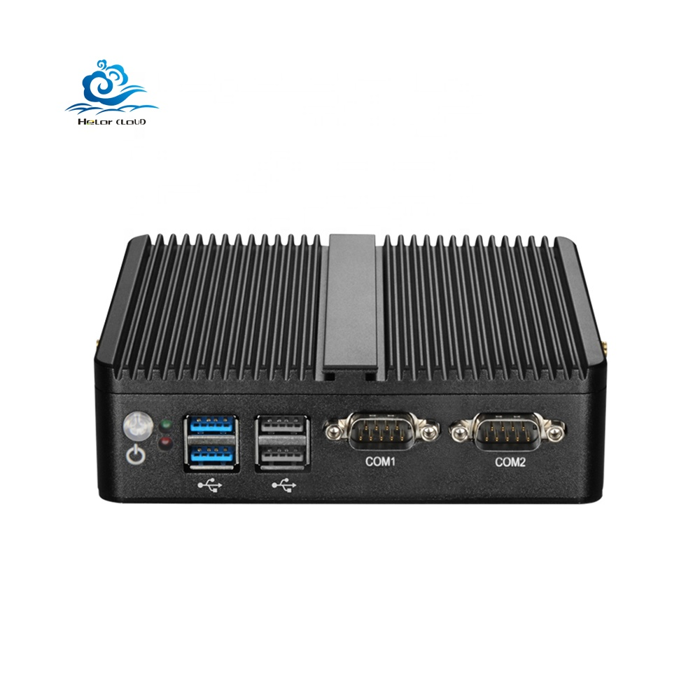 Fanless Mini PC หน้าต่าง 10 4GB RAM Celeron J1800 J1900 3205U 3755U 2 Ethernet mini pc 2 RS232 HTPC อุตสาหกรรม PC VGA WiFi