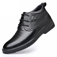 Cheap price black high quality lace men's dress patent leather thick cotton shoes