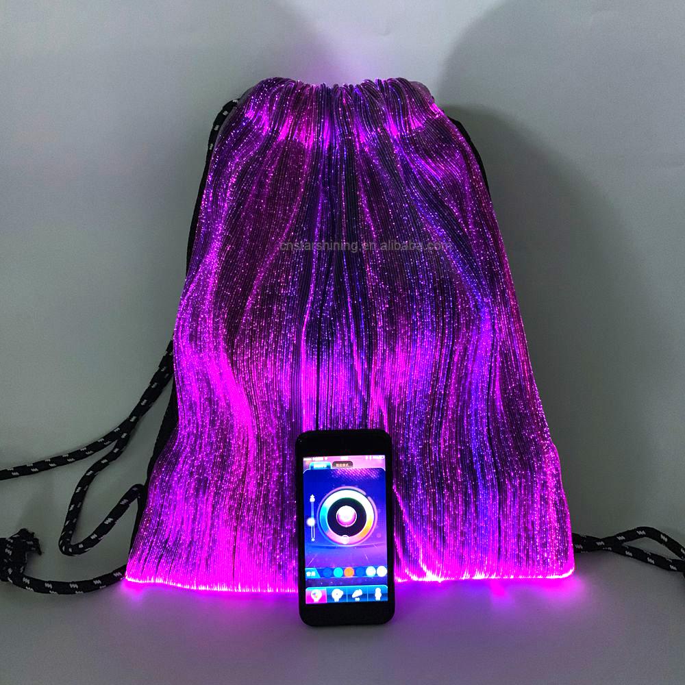 Unisex APP control music sensor USB rechargeable drawstring bag optic fiber LED backpack