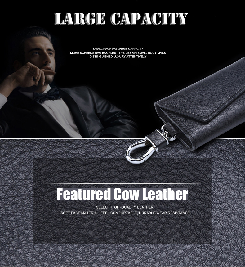 Mcow Wholesale PU Leather Custom Car Key Card Holder Case Keychain Multiple Wallet