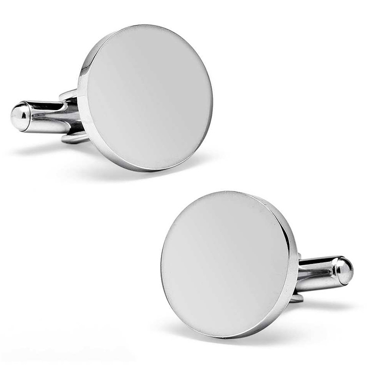 simple design <strong>customized</strong> blank <strong>engraved</strong> silver <strong>cufflinks</strong> stainless steel brushed finish round <strong>cufflinks</strong> for men jewelry