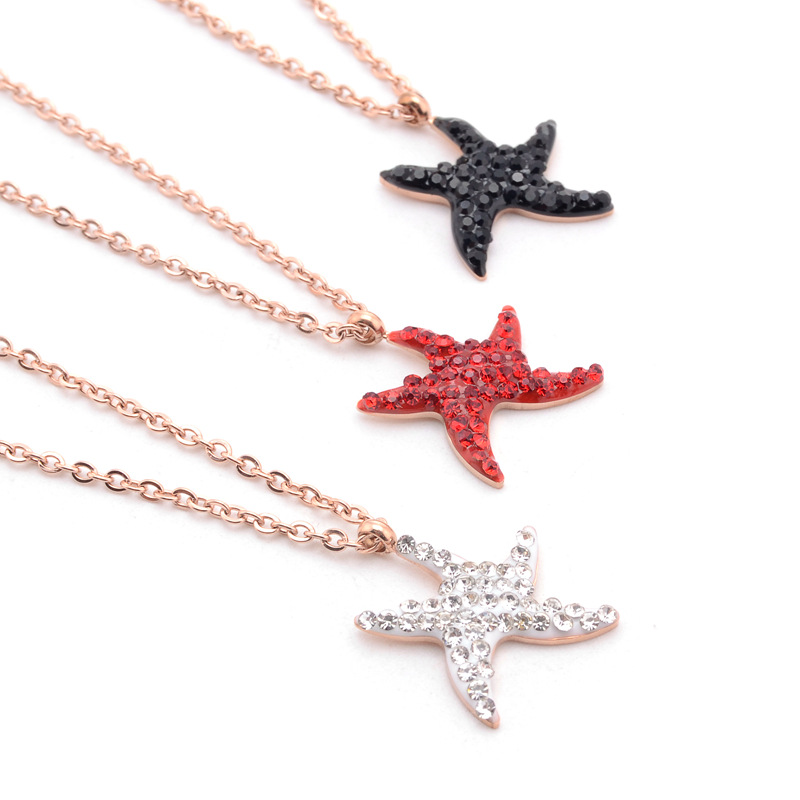 BHS002 Trade Assurance 2020 Latest Fashion Stainless Steel Crystal Starfish Charm Gold Plated Women Clavicle Necklace