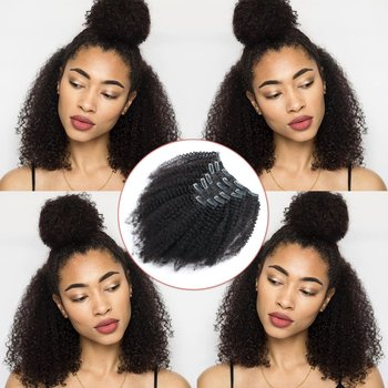 Afro Kinkys Curly Clip Ins Brazilian Virgin Hair Extensions Big Thick Double Weft Real Remy Hair for Black Women 7 Pieces
