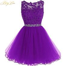 Короткое фиолетовое платье для выпускного вечера 2020, кружевное мини-платье с бисером для выпускного вечера размера плюс, короткое платье дл...(Китай)