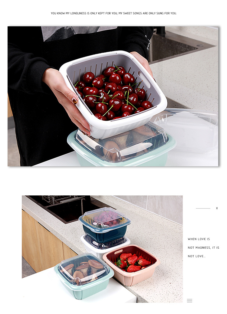 fruits and vegetables two layers strainer colander basket crisper