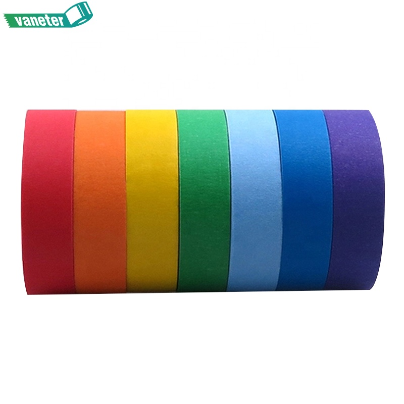 Colored Masking Tape, Rainbow Color Craft Paper Tape for Art Labeling & Decorations