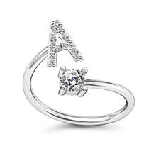 Hot Selling Sieraden Ring Womens Ajudstable Maat Crystal Rhinestone A-Z 26 Initial <span class=keywords><strong>Alfabet</strong></span> Letter Ring