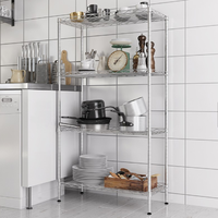 Eco-friendly and stocked wire shelving four tiers design kitchen storage shelf