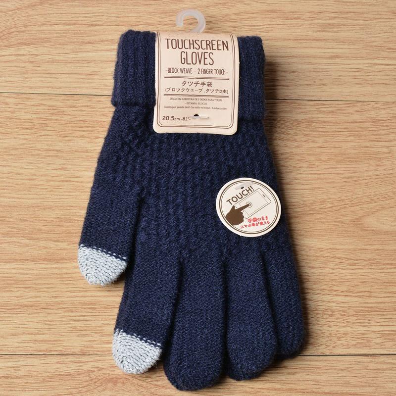Winter Touch Screen Gloves Women Men Warm Stretch Knit Mittens Acrylic Full Finger Guantes Female Crochet Luvas Thicken