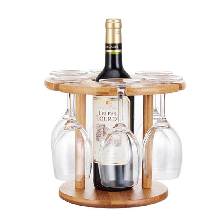 Wine Bottle Holder Bamboo Glass Hanging Drying Stand Bamboo Wine Holder 11