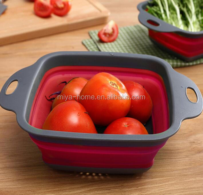 square water basket folding water basket retracted folding fruit blue / kitchen accessories