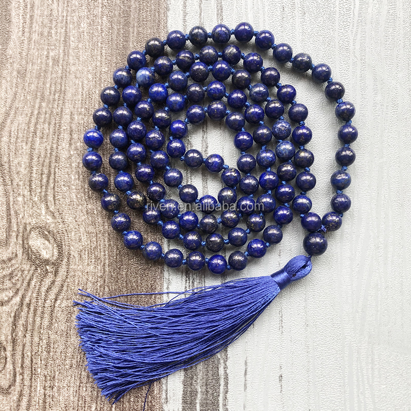 ST0624 Fancy Blue Tassel Mala Stone Tassel Necklace For Holiday Gift Men 8MM Healing Meditation Lapis Knotted Necklace