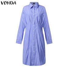 Женское платье с отложным воротником VONDA, винтажное платье в полоску с длинными рукавами, офисный сарафан с принтом, большие размеры, богемн...(Китай)