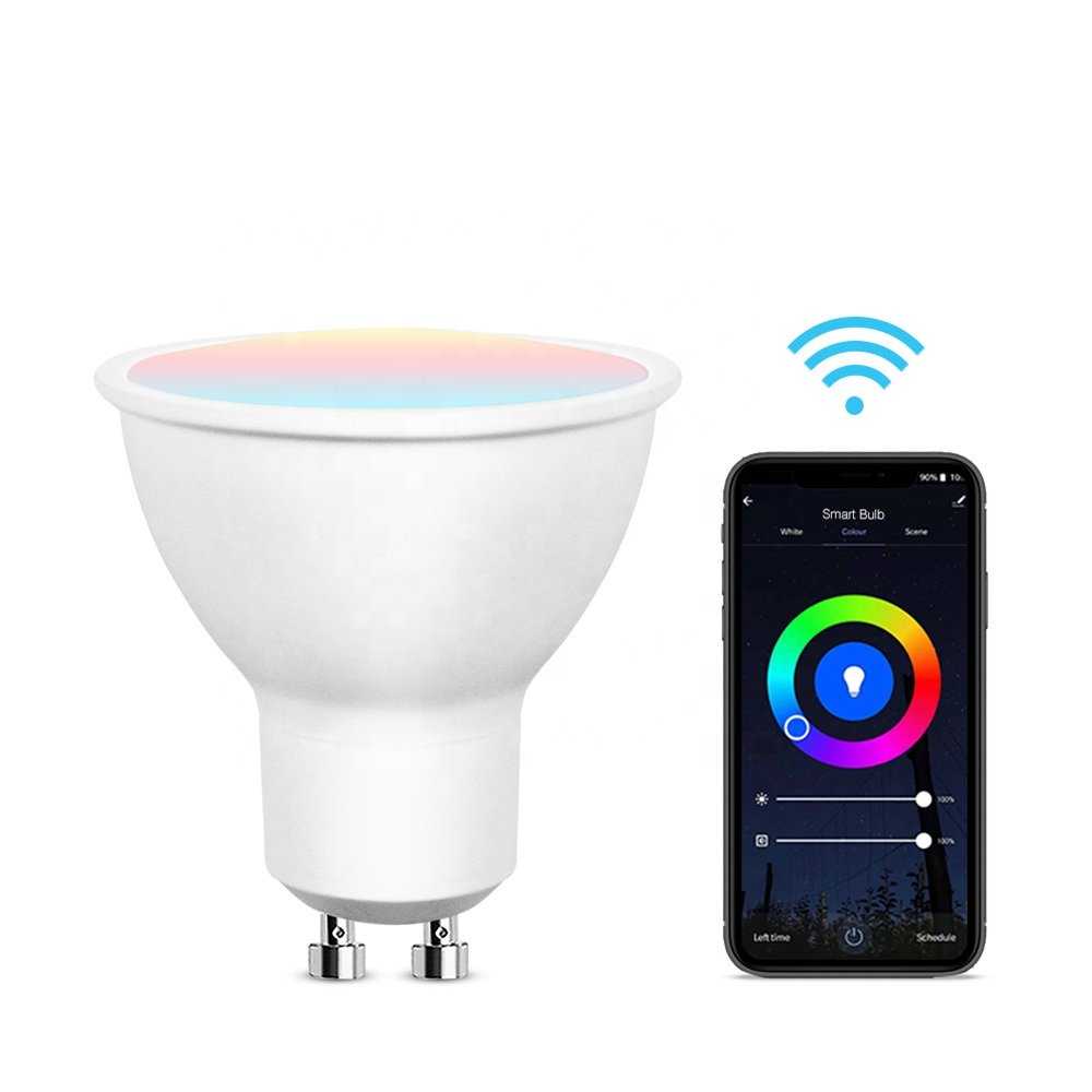 Wifi RGBW Smart LED Lighting Bulb GU10 Dimmable 2700k-6000k AC100v-240v Compatible With Alexa Google Assistant Via Voice Control