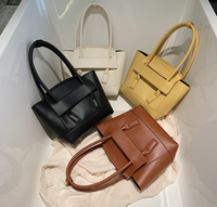 2019 Ins Celebrity Fashion Solid Color Ladies Fancy Handbags Leather Women Casual Tote Large Bags For Women