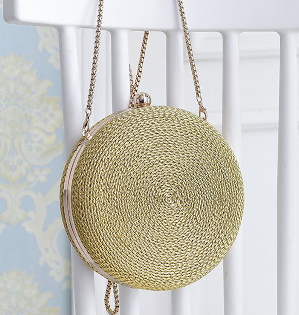Wholesales Novelty Ladies Purses Metal Chains Straps PU Leather Woven Disk Shape Handbag for Women Evening Bags