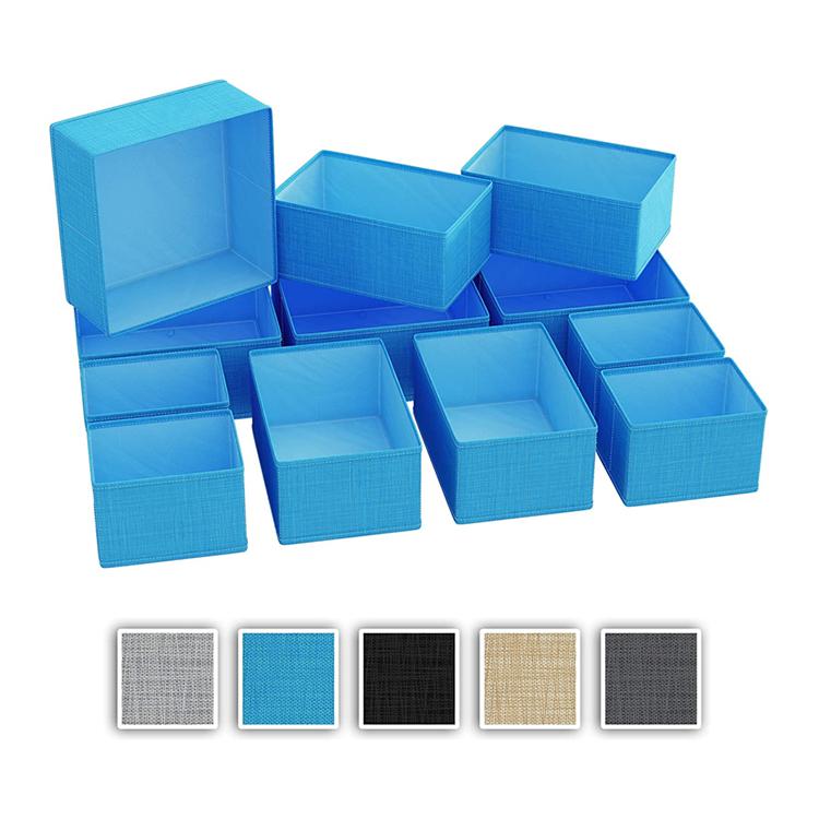थोक बेडरूम Foldable गैर बुना के लिए नीले रंग के कपड़े तौलिया विभक्त सेट आयोजक दराज
