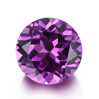 Synthetic Purple Sapphire Corundum 49# Round Shape Lab Created Loose Gemstones For Jewelry Making