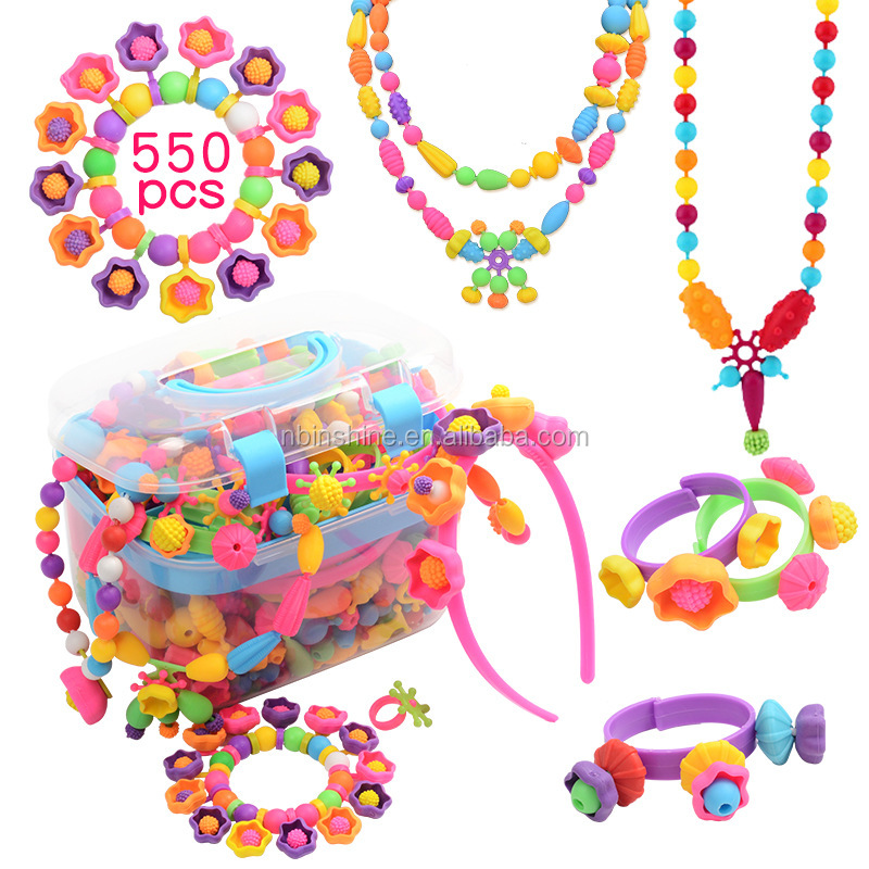 Amazon Hot Pop Beads DIY Jewelry Making Kit  Pop Snap Beads Set Creativity DIY Bead for Kids Girls Toddlers