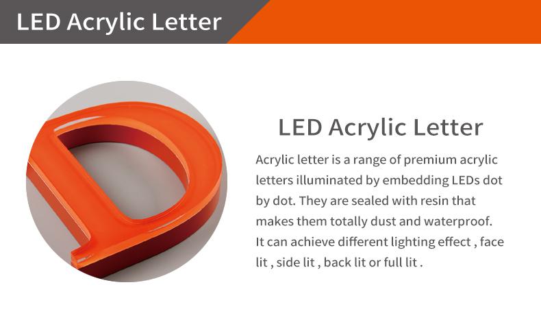 Personalizado grande alfabeto 3d de plástico letras de acrílico PMMA transparente señal para tienda