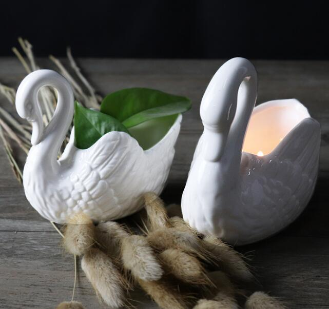 ceramic swan candle holder in swan candle container bird candle holder jar