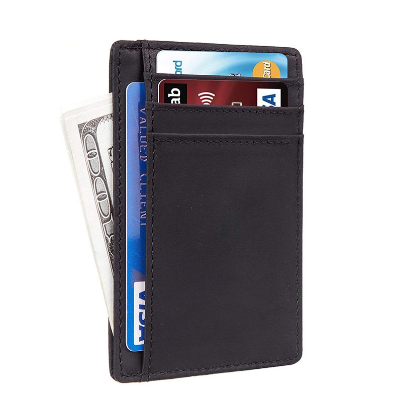 Custom Front Pocket Minimalist Leather Slim Wallet RFID Blocking Medium Crazy Horse Card Holder