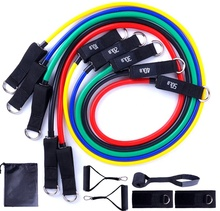 11 Pcs Set 100LBS OEM Individuelles Logo Training Ausrüstung Elastische Griffe <span class=keywords><strong>Bands</strong></span> Fitness Gym Power TPE Knöchel Übung Widerstand Rohr