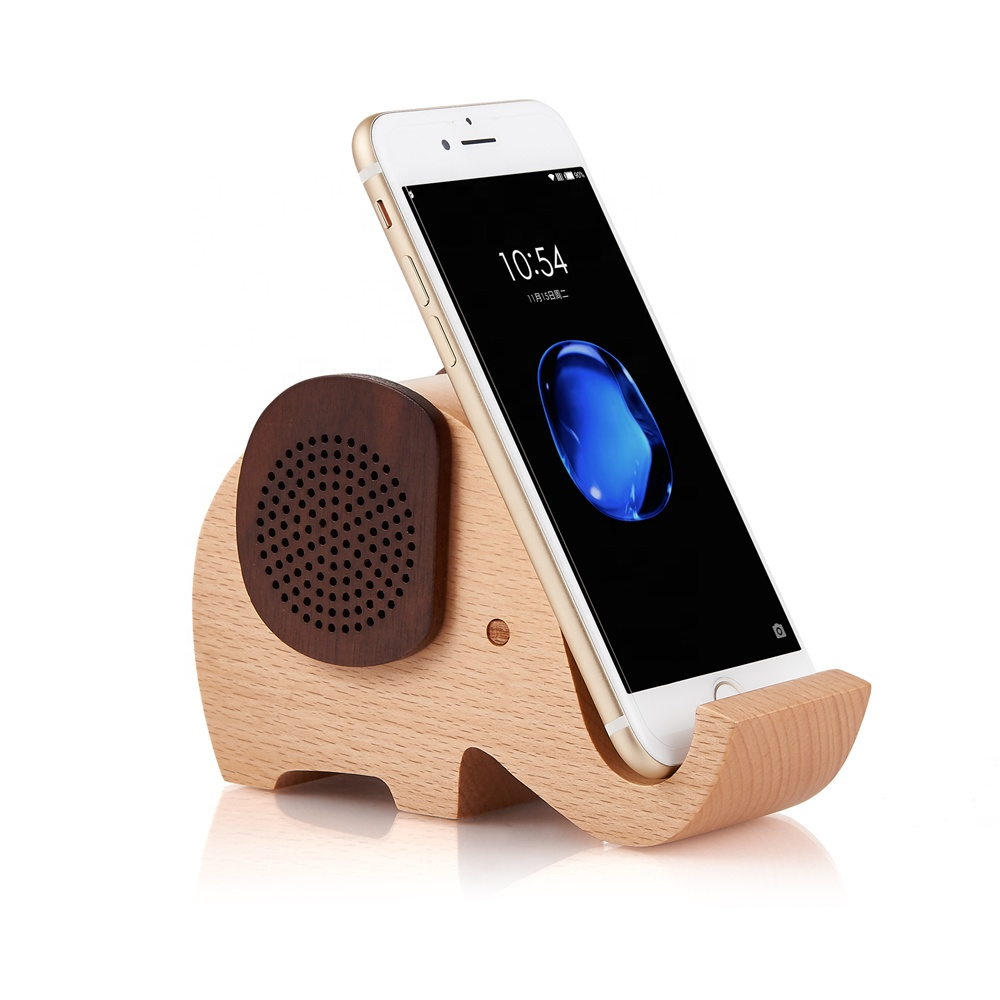 Cute Mini Portable Speaker Bluetooth Kayu dengan Ponsel Stand Holder