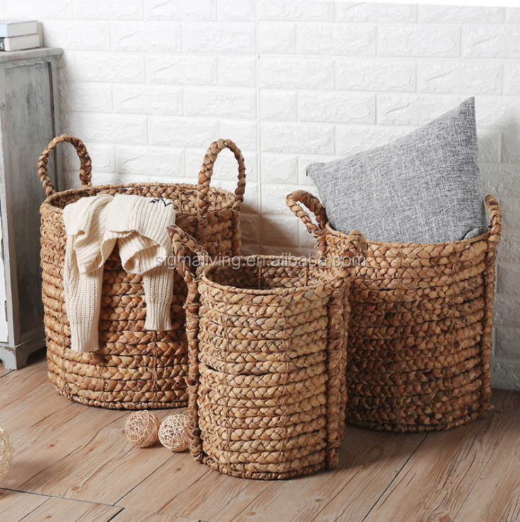 Decoration storage basket flower pot hand-woven storage basket straw planter covers