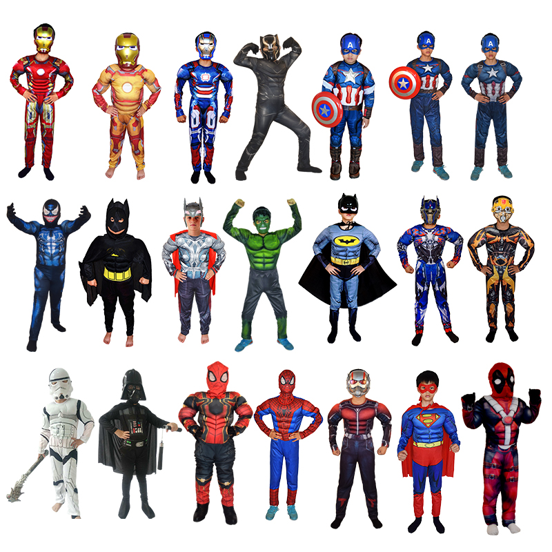 Halloween costume Da Supereroe Iron Man Costume Morta Avenger Captain America bat Spiderman Boy Kid Tuta anime cosplay costume