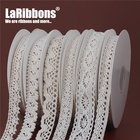 LaRibbons Wholesale Embroidered Flower Lace sewing Fabric Roll White Lace Ribbon lace
