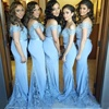2018 Off Shoulder Light Sky Blue Long Bridesmaid Dresses Lace Beads Mermaid Prom Wedding Guest Dress