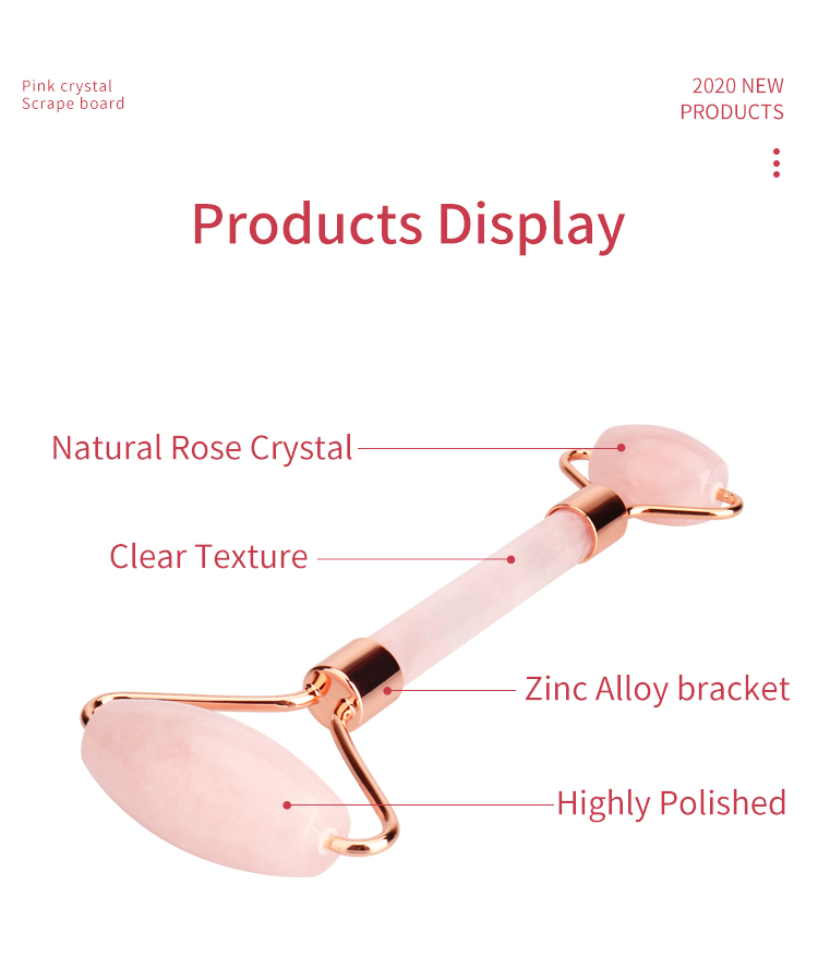 Free sample rose quartz facial jade roller gua sha set face stone massager for gift promotion