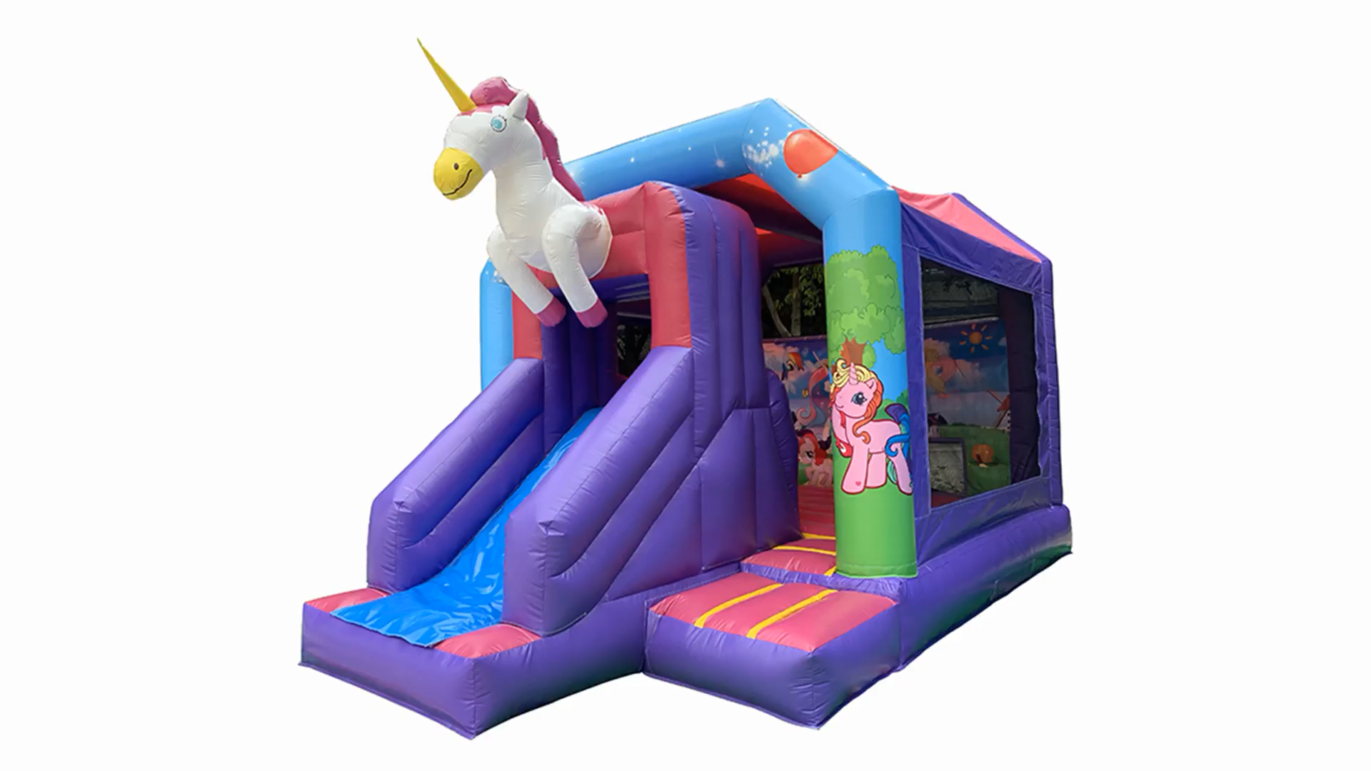 2020 high quality Inflatable Jumping Bounce House kids castle inflatable unicorn bouncer with slide for sale