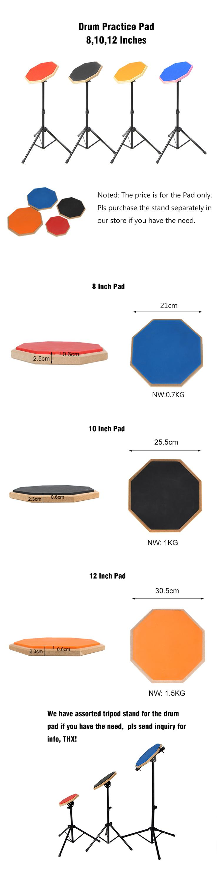 High Quality Multi Color 8/10/12 Inches Drum Practice Pad With  Drum Stand