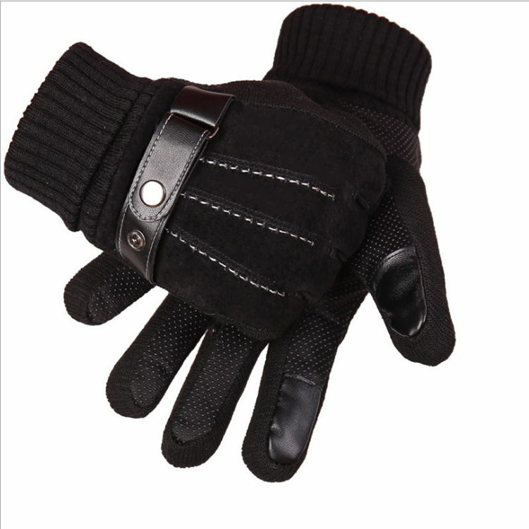 Winter Warm Touchscreen Texting Cashmere Lined Driving Motorcycle leather Gloves for men
