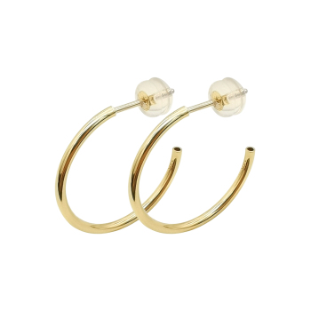 Fashion Jewelry Wholesale 14k Real Gold Jewelry Hoop Earrings, Girl Simple Design 20 14mm Hoop Real 14kt Gold Jewelry Wholesale