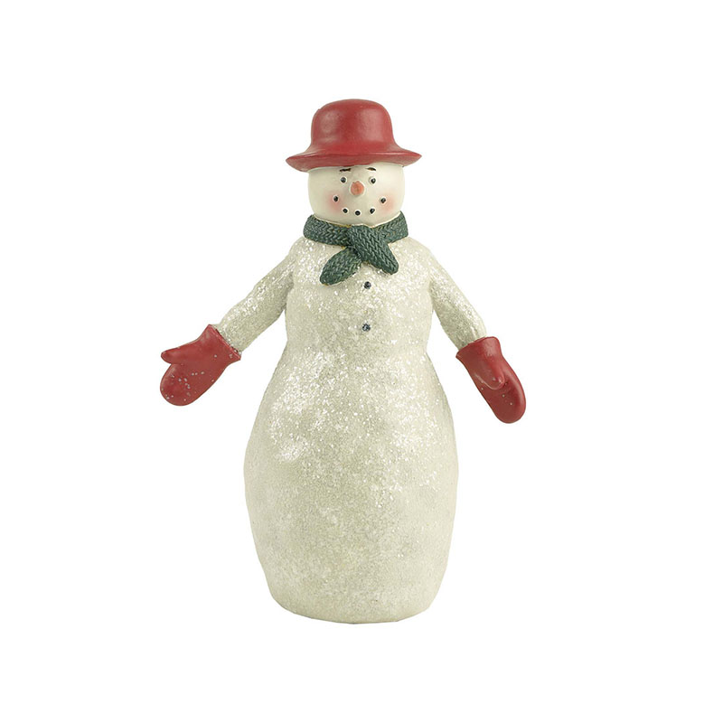 Snowman Statue With Wreath And Bird Snowman Landscape Resin For Snowman Christmas