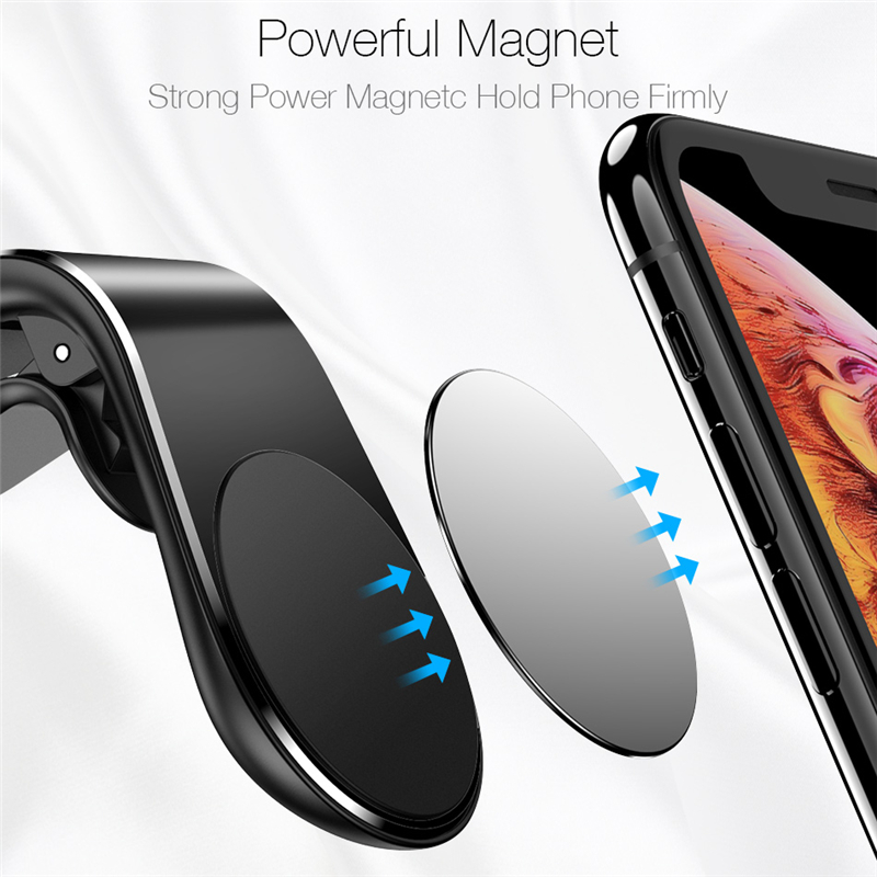 Di Vendita caldo del Metallo Magnetico Supporto Del Telefono Dell'automobile Mini Air Vent Clip di Montaggio L Tipo di Magnete di Supporto Mobile Per il iPhone XS logo personalizzato