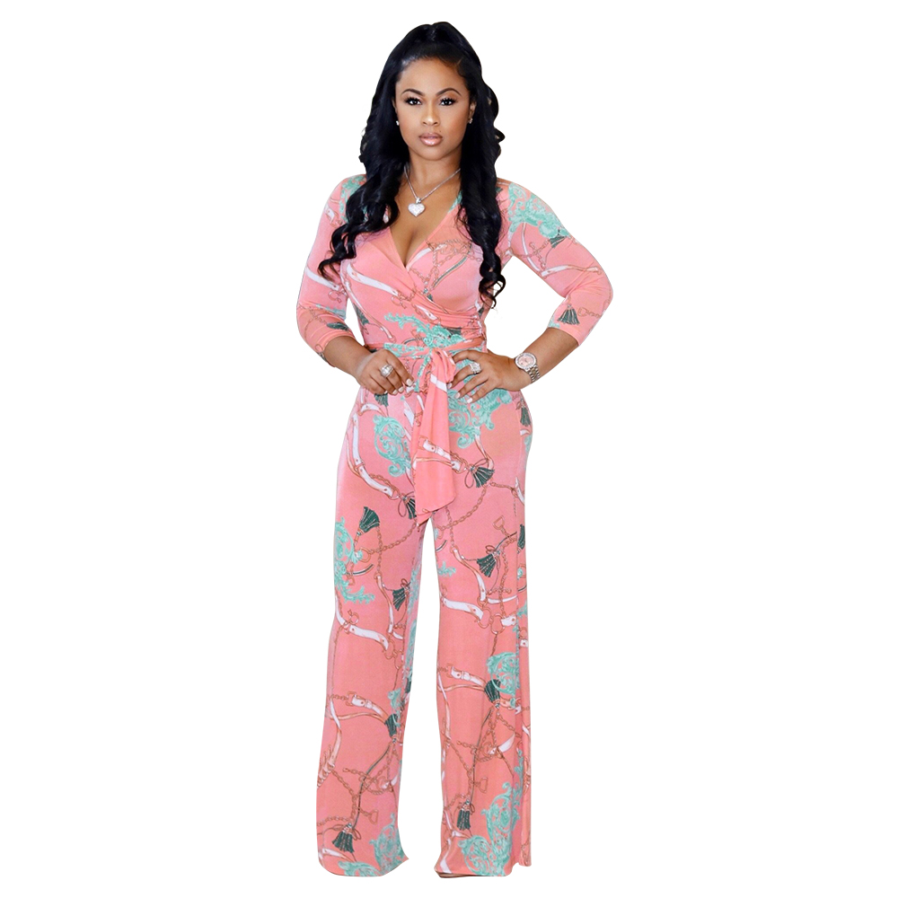 Europe and the United States sexy women's V-neck long-sleeved printed jumpsuit wide-leg pants