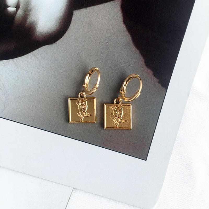 European Big Brand Geometric Rectangle <strong>Rose</strong> <strong>Flower</strong> Clip On <strong>Earrings</strong> for Women Boho Ethnic <strong>Rose</strong> <strong>Flower</strong> <strong>Earrings</strong> for Lover