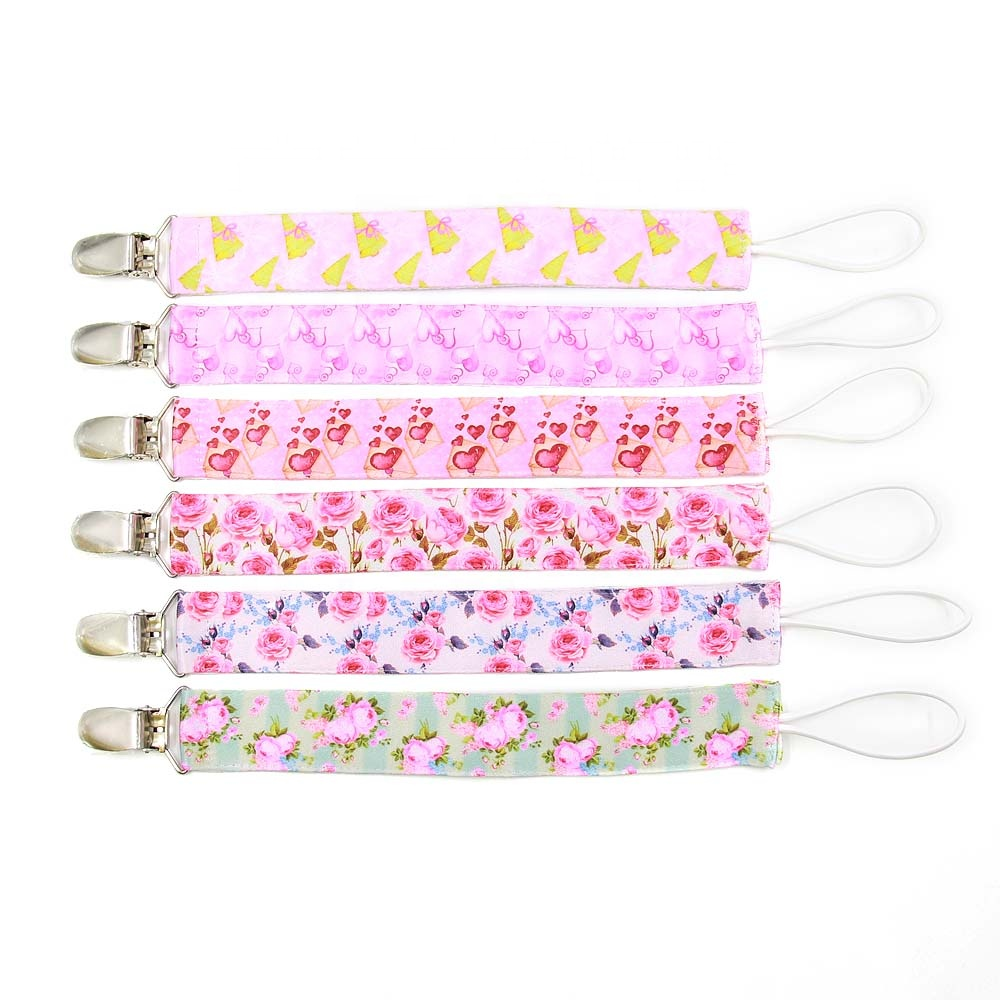 Wholesale Baby Product 3 Pack Custom Pattern Metal Baby Pacifier Clip Dummy Clip