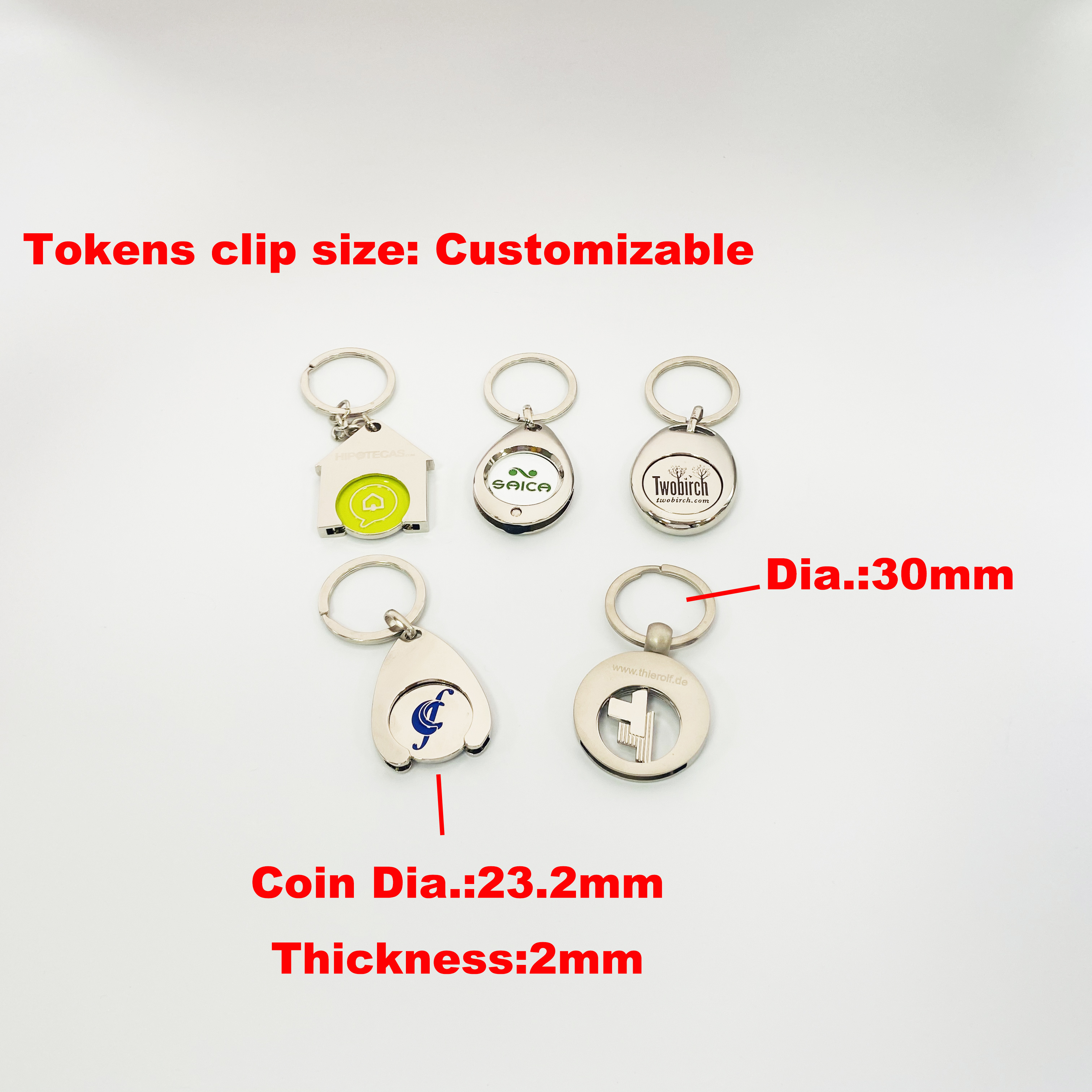 2020 Custom Design Logo Zamac Metal Coin Holder Keychain