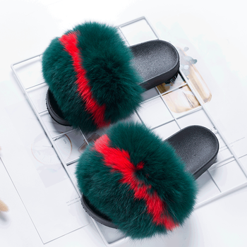 ladies and kids and women real fox and mink platform heel slippers sandals with fur