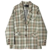 [EAM] Женский Зеленый Клетчатый Блейзер большого размера, новая свободная куртка с отворотом и длинным рукавом, модная демисезонная куртка 2020...(Китай)