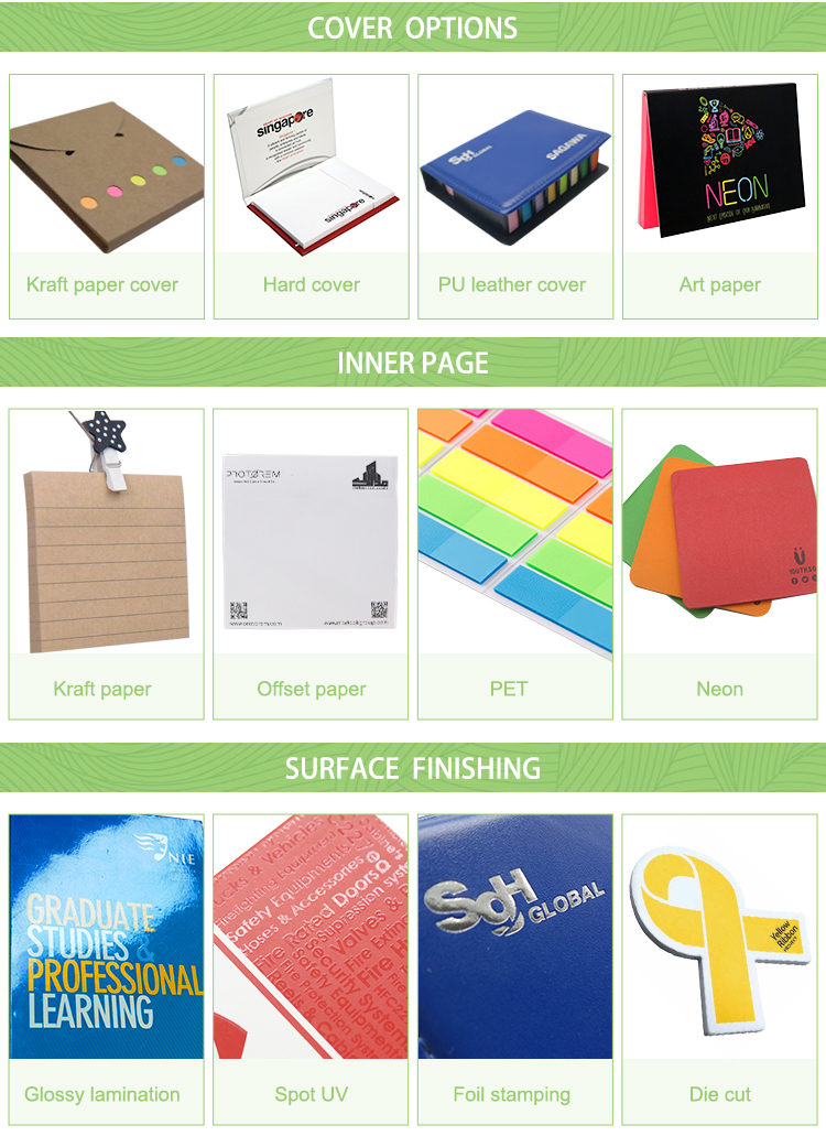 Professional custom company office printed blocks memo pad sticky notes